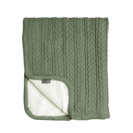 Kötött vastag wellsoft takaró (Cuddly), sötét zöld, Vinter&Bloom