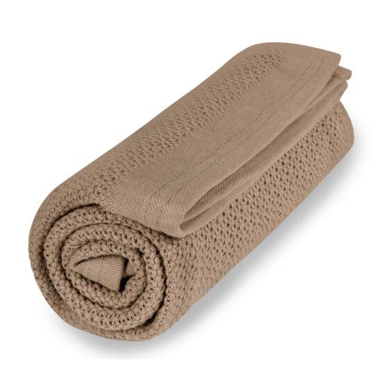Organikus kötött takaró (vékony), nugát barna színű (Vinter&Bloom)