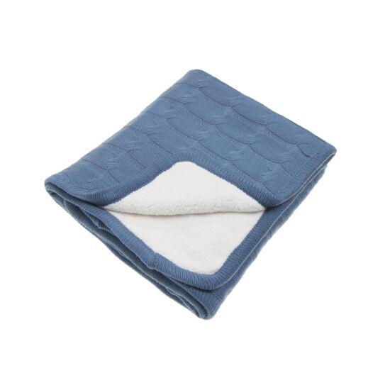 Kötött vastag polár takaró (Teddy), indigó kék, Vinter&Bloom