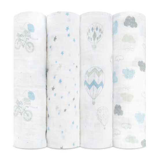 Hőlégballonos-biciklis muszlin takaró, 4-es csomag (aden+anais)