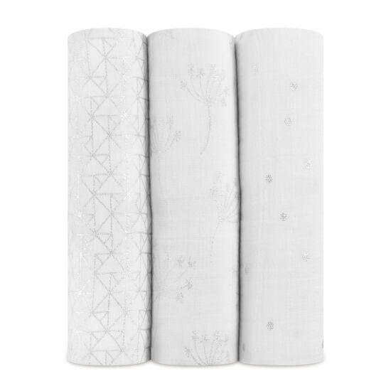 Ezüst mintás muszlin takaró, 3-as csomag (aden+anais)