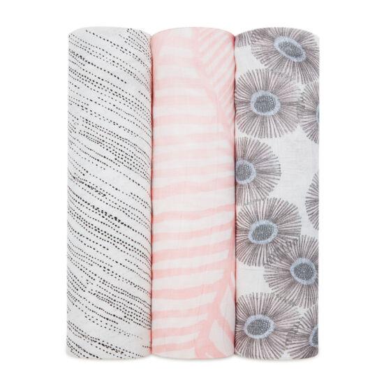 Rózsaszín-szürke bambusz takaró, 3-as csomag (aden+anais)