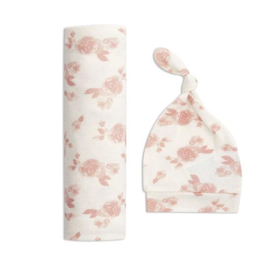 Kötött takaró + sapka szett - rózsás (aden+anais)