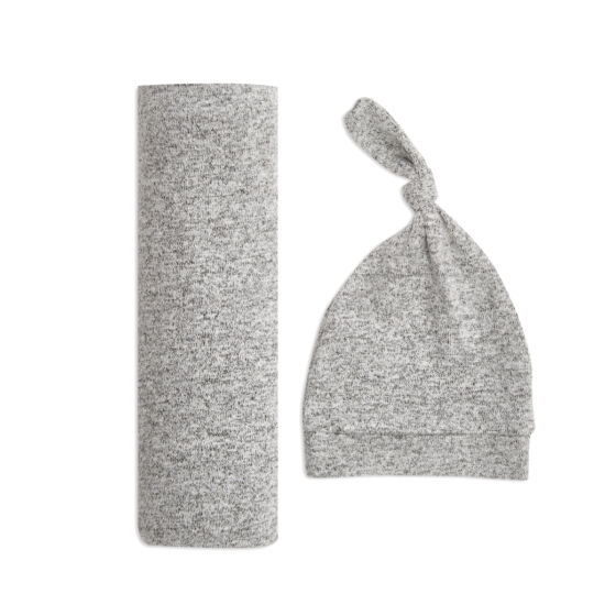 Kötött takaró + sapka szett - szürke (aden+anais)