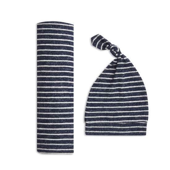 Kötött takaró + sapka szett - tengerész csíkos (aden+anais)