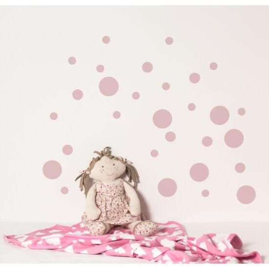 Pasztell rózsaszín pöttyös falmatricák, babyberry
