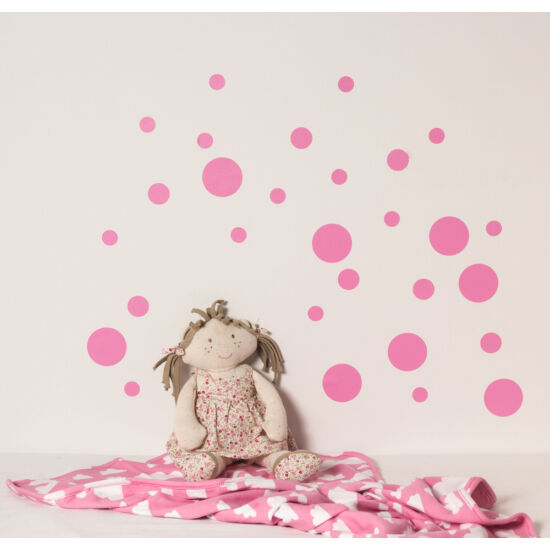 Rózsaszín pöttyös falmatricák