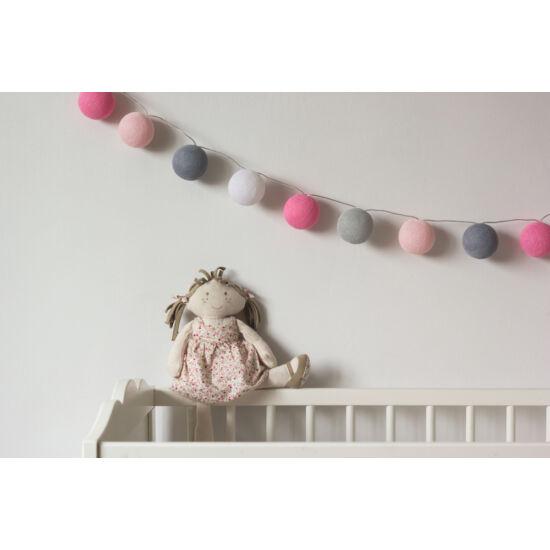 Rózsaszín-szürke gömblámpa füzér (Cotton Ball Lights)