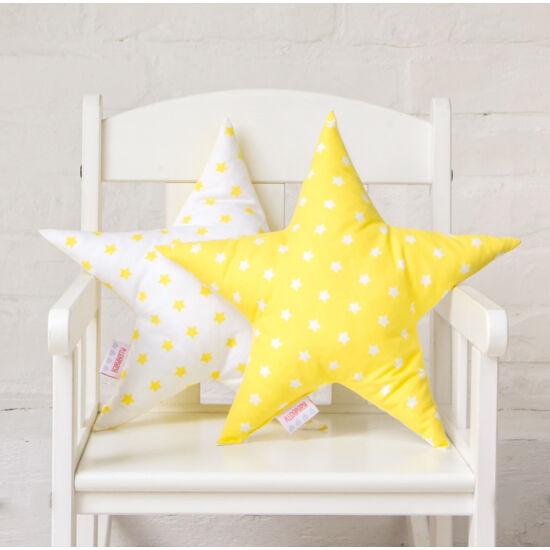 Sárga-fehér csillag alakú díszpárna, Little Stars