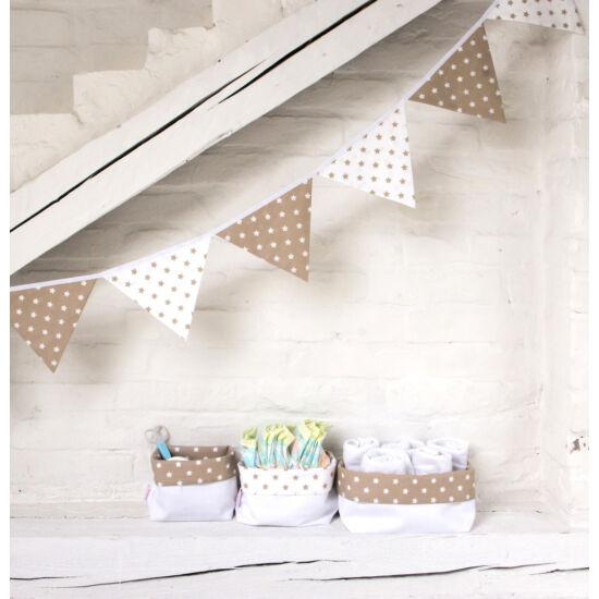 Bézs csillagos textil tároló, háromféle méretben, Little Stars