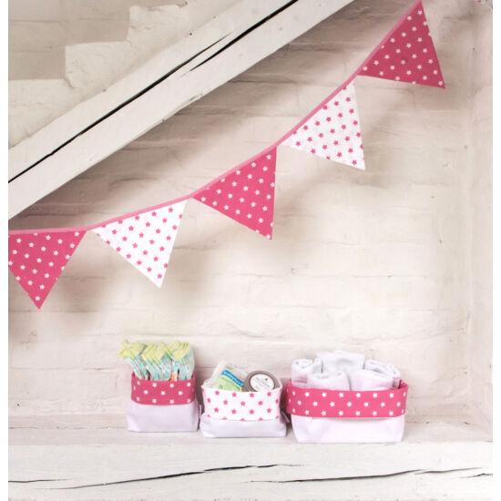 Pink csillagos textil tároló, háromféle méretben, Little Stars