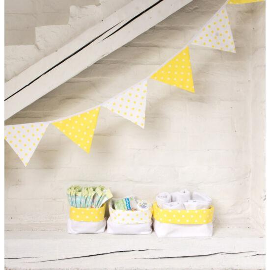 Sárga csillagos textil tároló, háromféle méretben, Little Stars