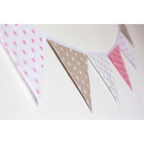 Pink-bézs csillagos zászló girland, Little Stars