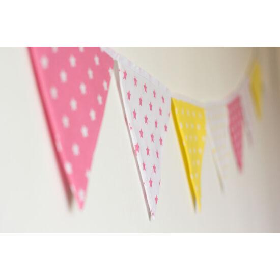 Sárga-pink csillagos zászló girland, Little Stars