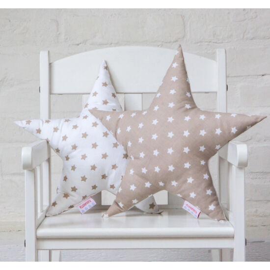 Bézs-fehér csillag alakú díszpárna, Little Stars