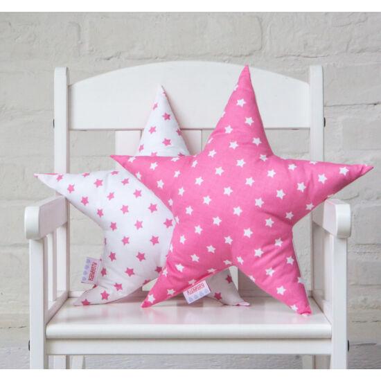 Pink-fehér csillag alakú díszpárna, Little Stars