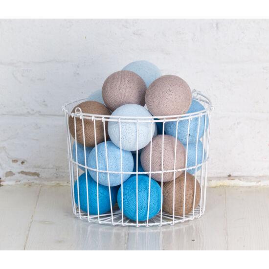 Kék-bézs gömblámpa füzér (Cotton Ball Lights)