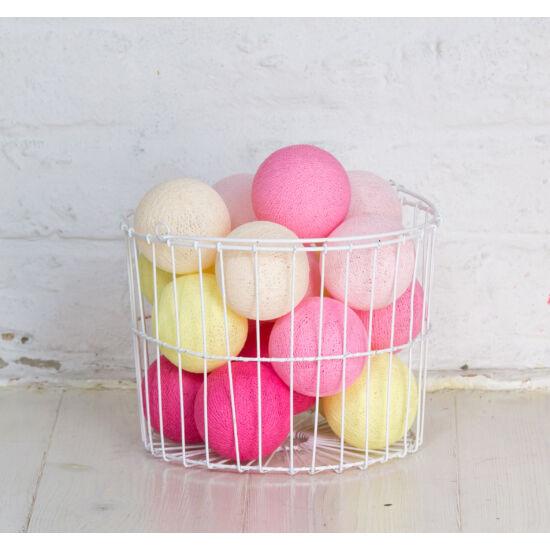 Pink-sárga gömblámpa füzér (Cotton Ball Lights)