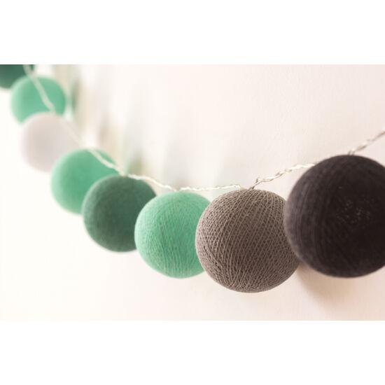 Menta-szürke gömblámpa füzér (Cotton Ball Lights)