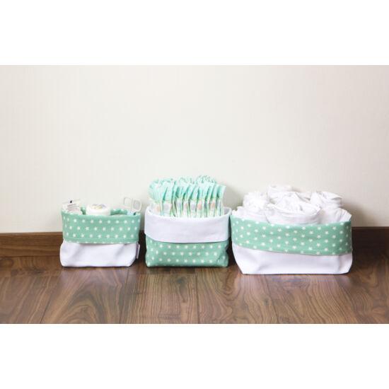 Menta csillagos textil tároló, háromféle méretben, Pastel Baby
