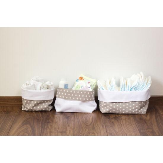 Szürke csillagos textil tároló, háromféle méretben, Pastel Baby