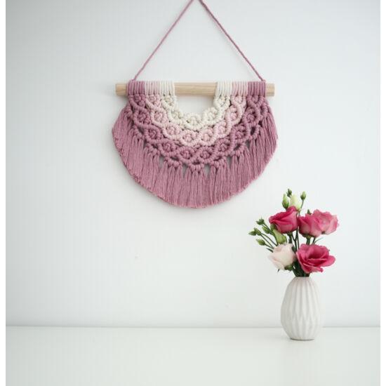 Makramé szivárvány fali dísz, mályva-rózsaszín-natúr