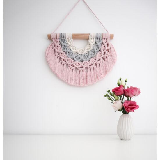 Makramé szivárvány fali dísz, natúr-szürke-rózsaszín